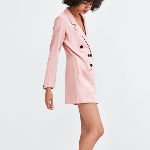 sneakers for cheap best loved official Zara pink blazer jumpsuit dress NWT
